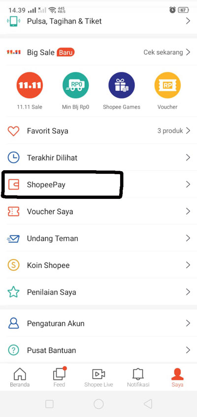 Langkah Pertama Ganti PIN Shopeepay
