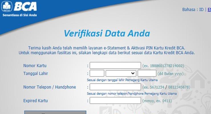 Lupa PIN Kartu Kredit BCA Lewat Website BCA