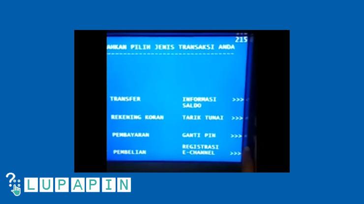 Pilih Ganti PIN ATM BTN.