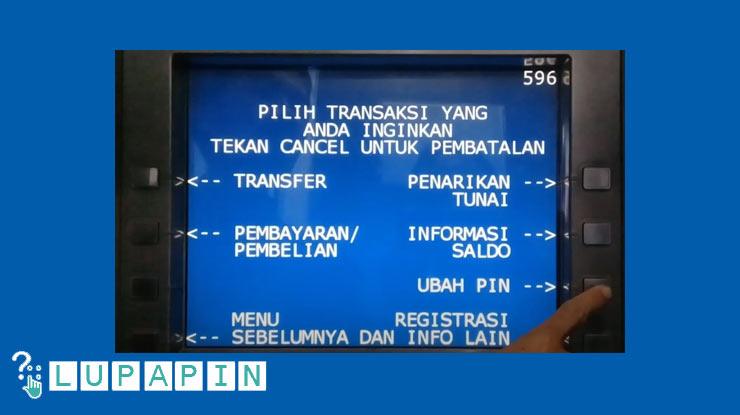 6.Lalu pilih menu Ubah PIN ATM BRIS.