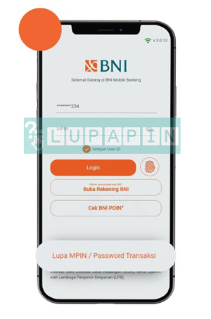 1 Tap Menu Lupa MPIN dan Password Transaksi