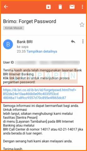 Klik Link Reset Password