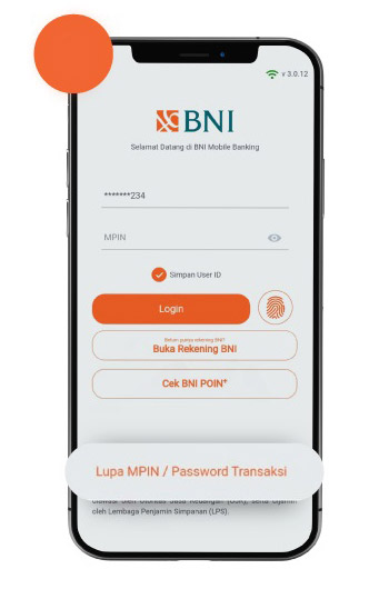 Pilih Lupa MPIN Password Transaksi
