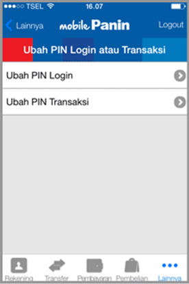 Ganti PIN MobilePanin