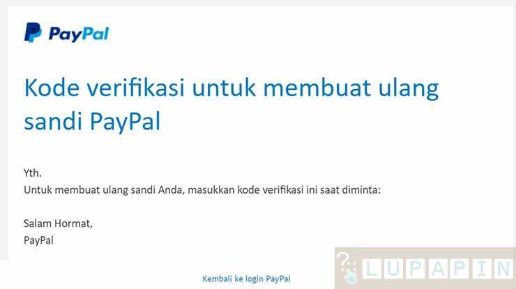 Verifikasi Kode Email PayPal