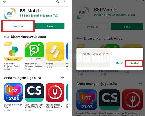 UNINSTALL Lupa BSI Mobile