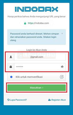 mengatasi Lupa Password Indodax