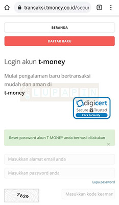 mengatasi lupa Password t-money