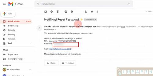 reset Password SiHarka