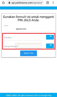 cara reset PIN Julo