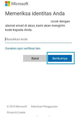 reset kata sandi outlook