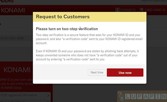Password Konami ID