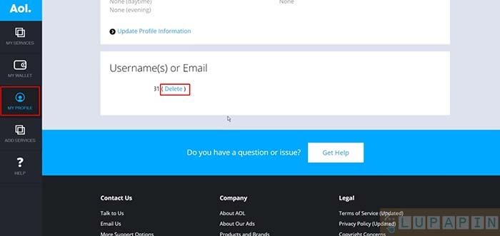 delete account aol mail