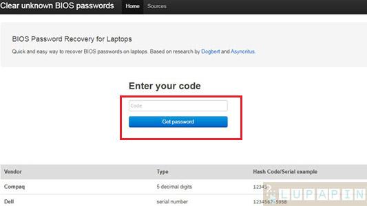 password default bios acer