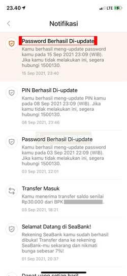 Ganti Password SeaBank Berhasil