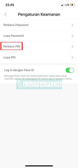 Pilih Perbarui PIN