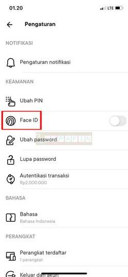 Tap Face ID Sidik Jari