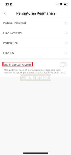 Tap Log In dengan Face ID