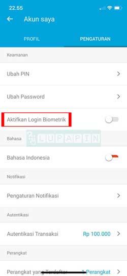 Aktifkan Login Biometrik