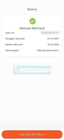 Aktivasi Biometrik BNI Mobile Berhasil