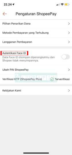 Pilih Autentikasi Face ID 3